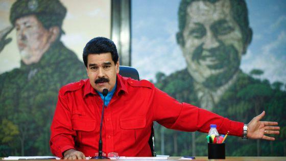 El presidente de Venezuela, Nicolas Maduro, hablando en el palacio de Miraflores.