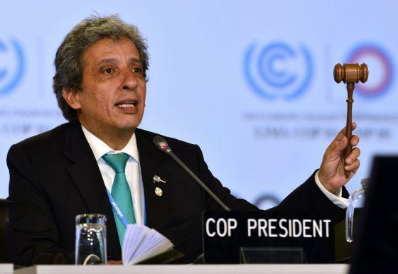 El presidente de la COP20, Manuel Pulgar, anuncia el acuerdo.
