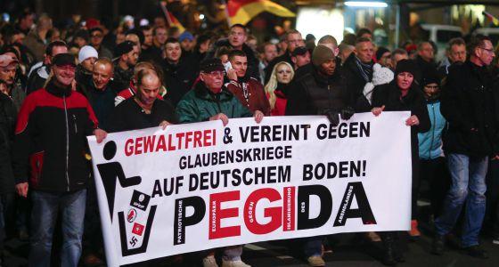 Manifestación de Pegida el 15 de diciembre en Dresde.