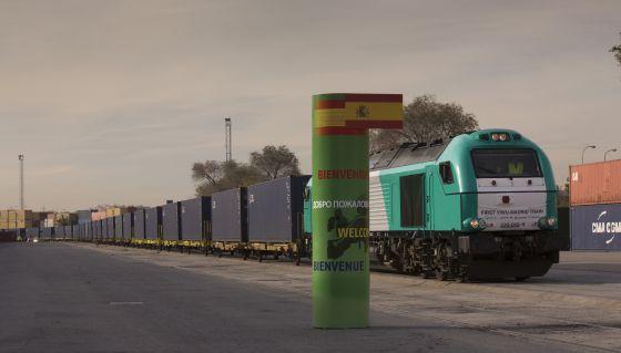 El primer tren de mercancías directo desde China a su llegada a Madrid, en diciembre.