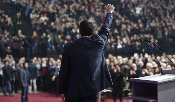 Tsipras, en la presentación de su programa ayer en Atenas.