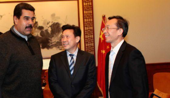 El presidente Maduro, con empresarios chinos, ayer en Pekín.