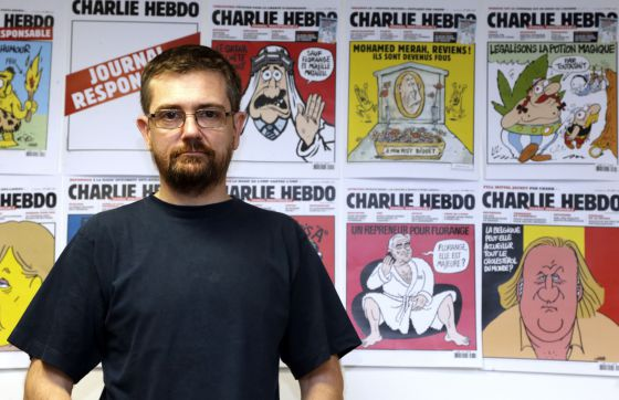 Charb, director de 'Charlie Hebdo', en la redacción en 2012.