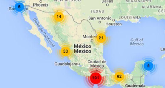 Mapa de datos sobre agresiones a periodistas