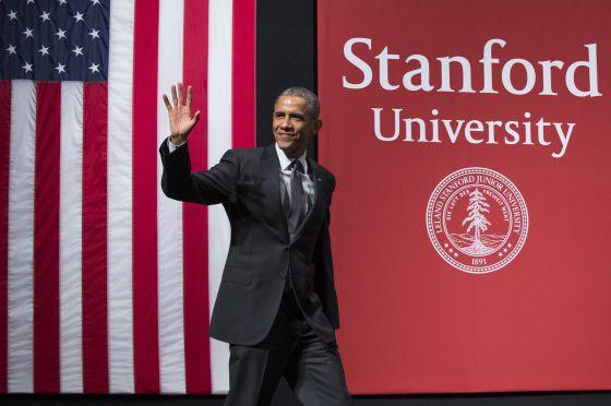 El presidente Barack Obama durante su intervención en la Universidad de Stanford.