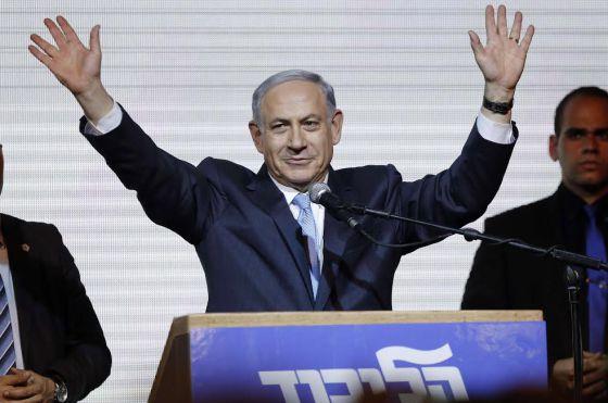 Benjamin Netanyahu tras su victoria electoral en Israel.