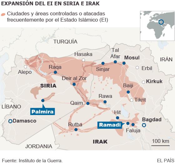 Mapa de la expansión del Estado Islámico