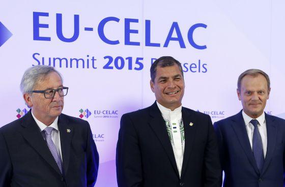 Los presidentes de la Comisión, del Consejo europeo y de CELAC, Juncker, Correa y Tusk