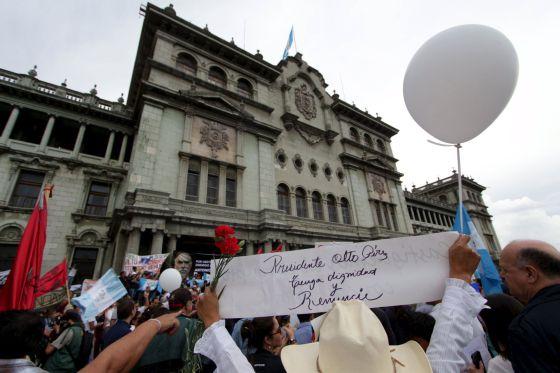 Manifestantes en Ciudad de Guatemala