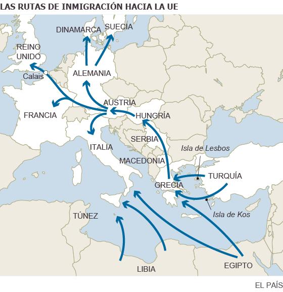 Las rutas de la inmigración hacia la UE