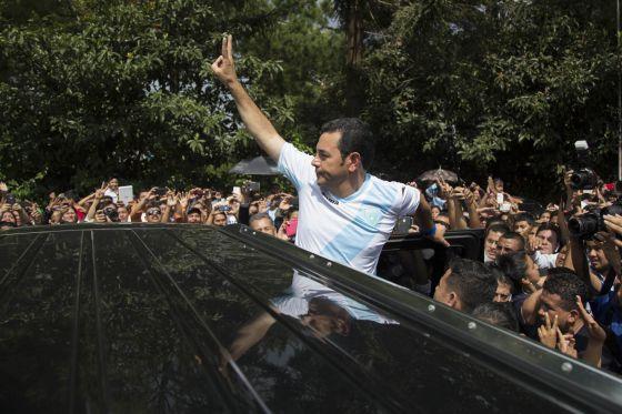 Jimmy Morales, durante la jornada electoral en las elecciones guatemalas
