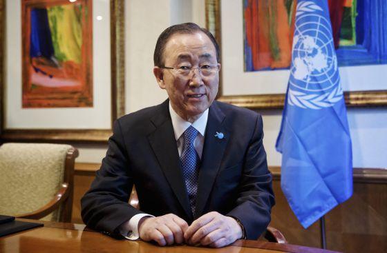 Ban Ki-moon, secretario general de la ONU, antes de la entrevista.