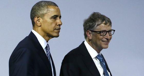 Barack Obama y Bill Gates, en la cumbre del clima de París