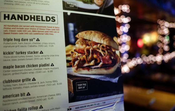 Menú del restaurante de la cadena AppleBee´s en Times Square, Nueva York