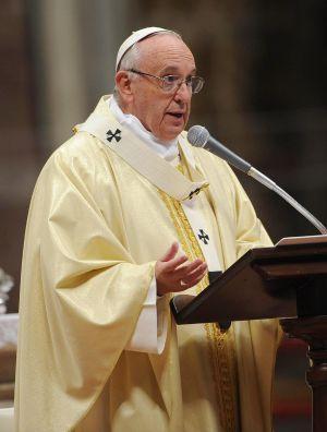 El papa Francisco, durante la misa este sábado con ocasión de la Virgen de Guadalupe.