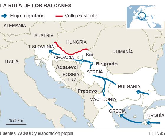 Mapa con la ruta de la inmigración a través de los Balcanes