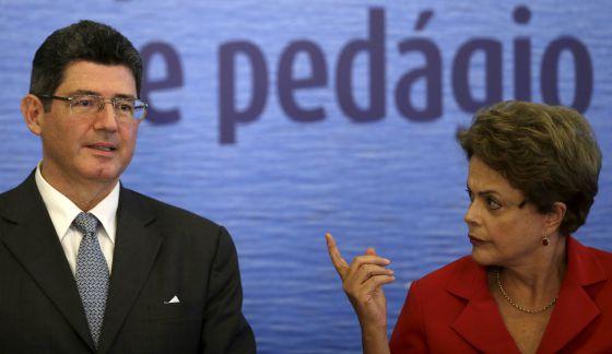 El ministro de Economía de Brasil, Joaquim Levy, y la presidenta, Dilma Rousseff
