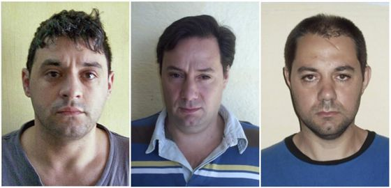 De izquierda a derecha, Víctor Schillaci, Martín Lanatta y Christian Lanatta, los tres sicarios que se fugaron el pasado domingo.