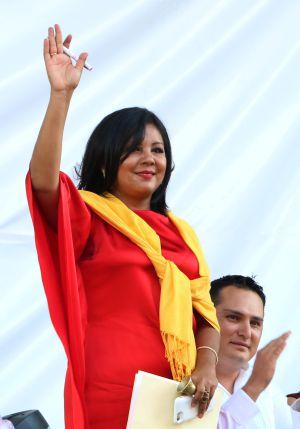 Gisela Mota en su toma de protesta como alcaldesa de Temixco.