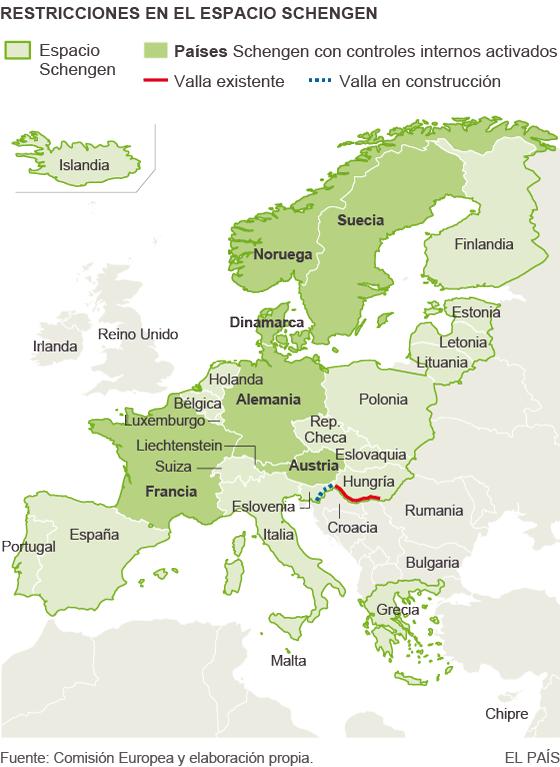 Mapa de los países Schengen con restricciones internas