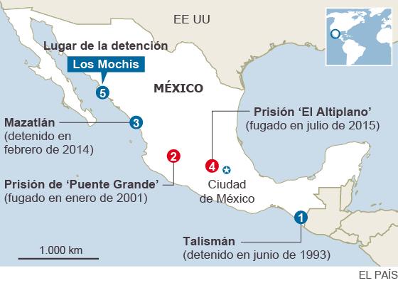 El Chapo Guzmán, detenido en México