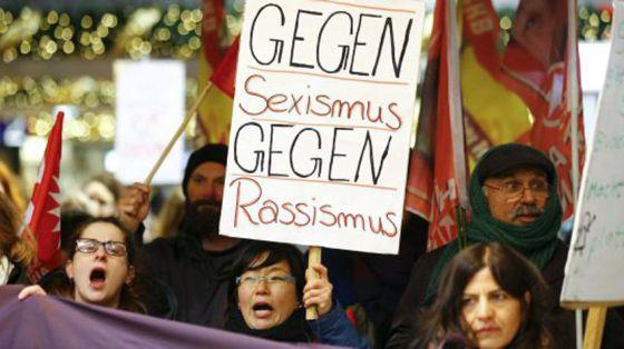 Protesta contra las agresiones a mujeres, el 5 de enero en Colonia.