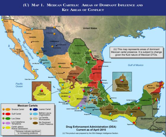Mapa del narcotráfico en México.