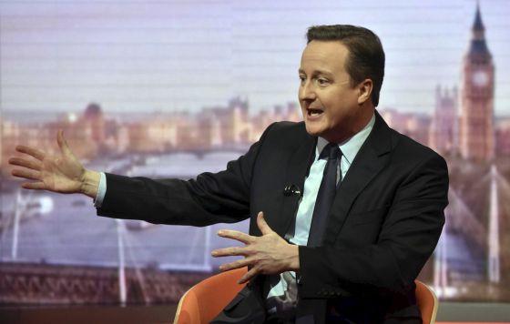 El primer ministro británico, David Cameron, este domingo durante la entrevista con la BBC.