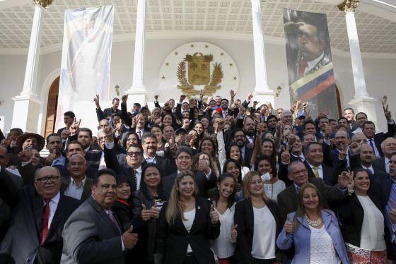 Los legisladores de oposición en Venezuela, el pasado 5 de enero.