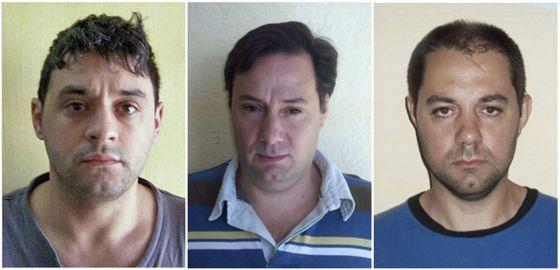Victor Schillaci (izq), Martin Lanatta and Cristian Lanatta (der), los reos que escaparon de un penal de máxima seguridad en Argentina.