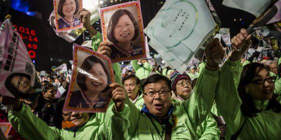 Partidarios de Tsai Ing-wen