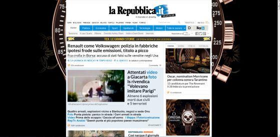 Portada del diario 'La Repubblica'