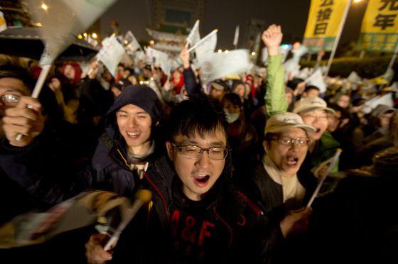 Un mitin de cierre de campaña este viernes en Taipei.
