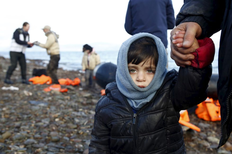 Un niño sirio, momentos después de llegar a la isla de Lesbos