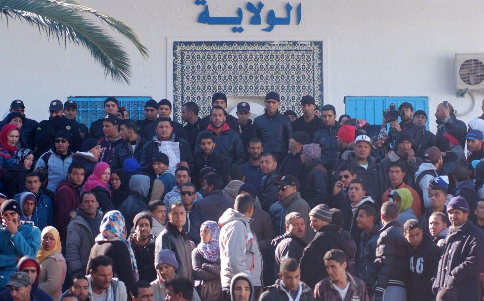 Protesta el pasado miércoles en Kasrine.