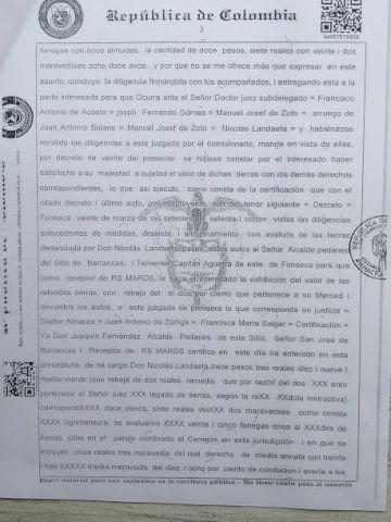Fragmento de la reconstrucción de una escritura de 1866.