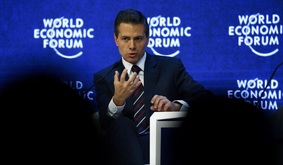 Pena Nieto en una conferencia en el Foro Económico Mundial en Davos.