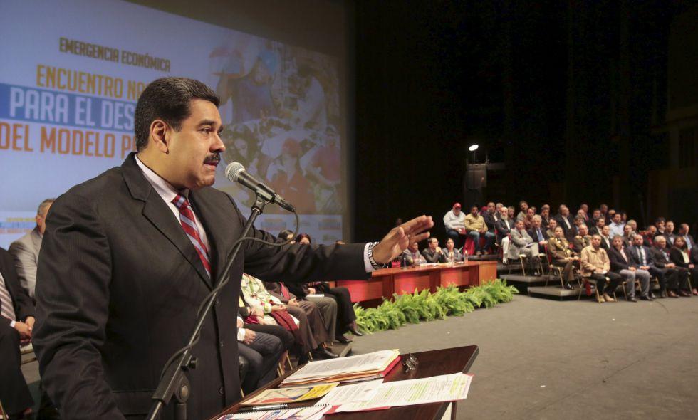 Nicolás Maduro, durante una reunión con empresarios el pasado martes.