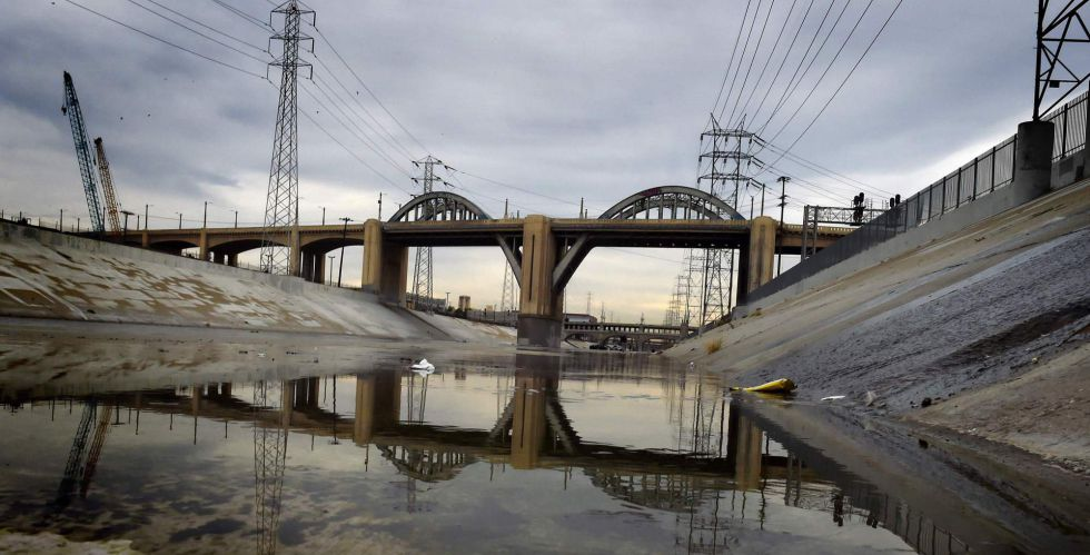 A ponte da rua 6, em Los Angeles, antes da sua demolição.