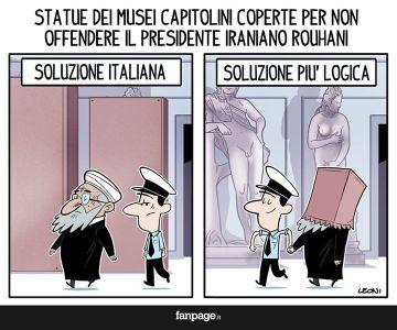 """""""Estatua de los Museos Capitolinos cubierta para no ofender al presidente de Irán, Rohani. Solución italiana. Solución más lógica""""."""