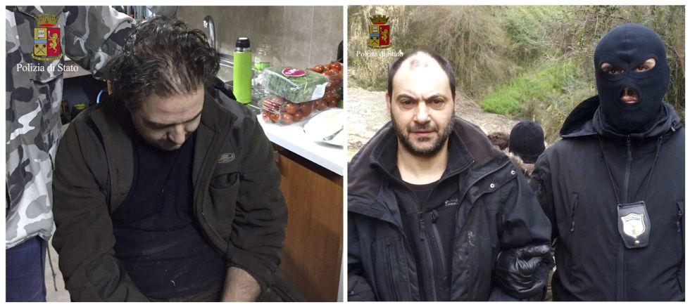 Giuseppe Crea (izquierda) y Giuseppe Ferraro (d), los miembros de la 'Ndrangheta arrestados en imágenes divulgadas por la policía Italiana.