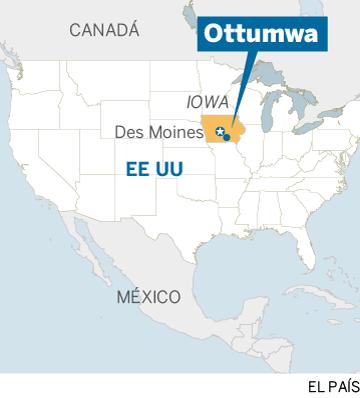 Mapa localizador de Ottumwa, en Iwoa, EE UU