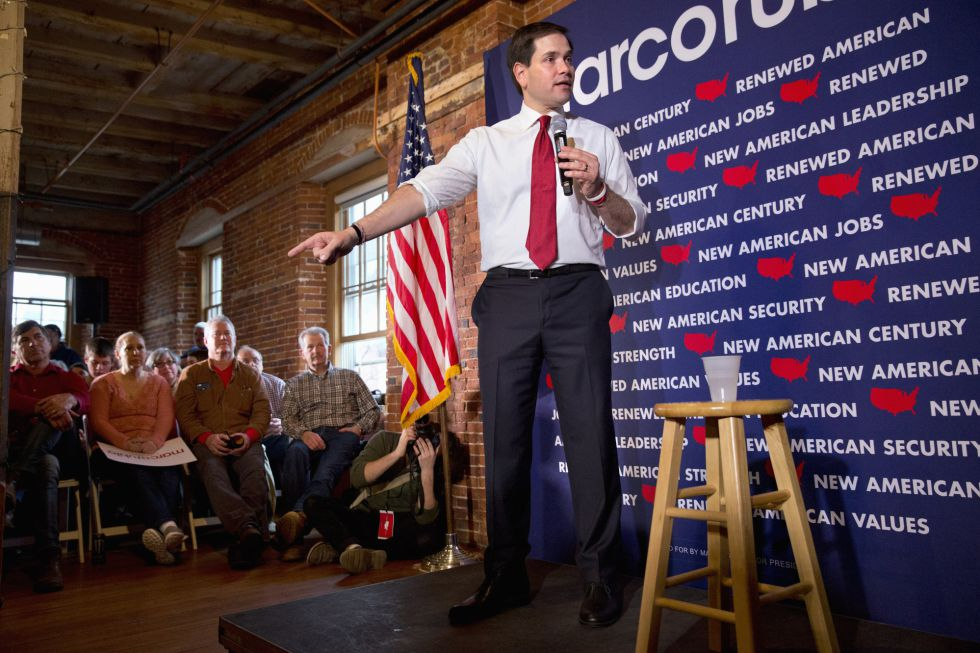 El candidato republicano Marco Rubio en una charla en Laconia, N.H.