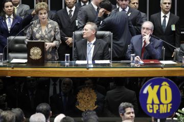 Dilma Rousseff junto a los presidentes de la Cámara de los Diputados y del Senado
