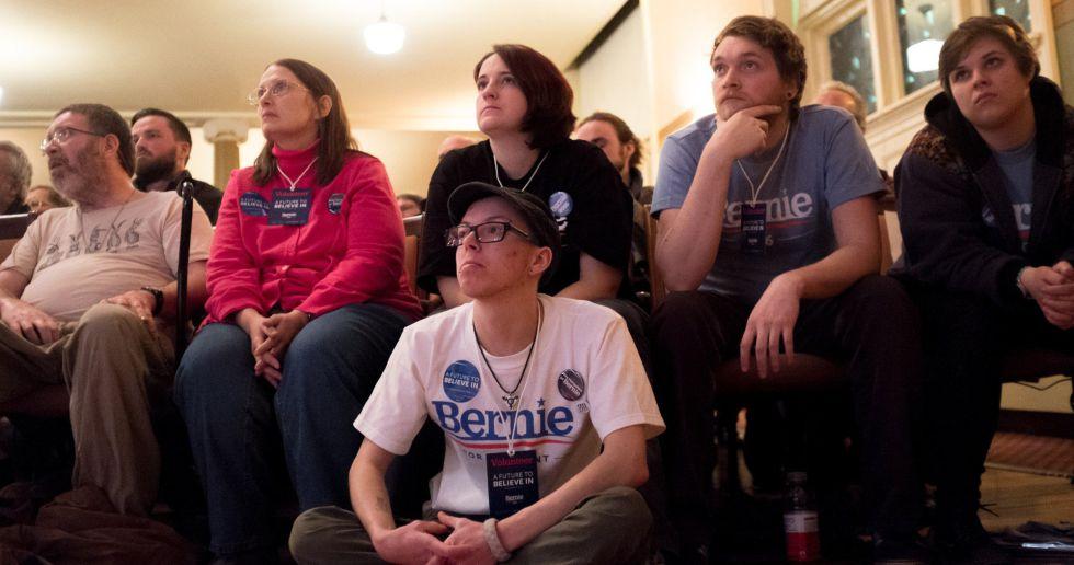 Seguidores de Sanders, en un acto en Claremont (New Hampshire).