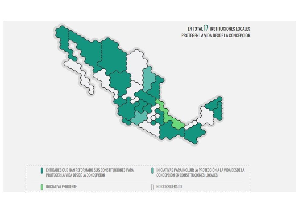 Mapa de la criminalización del aborto en México.
