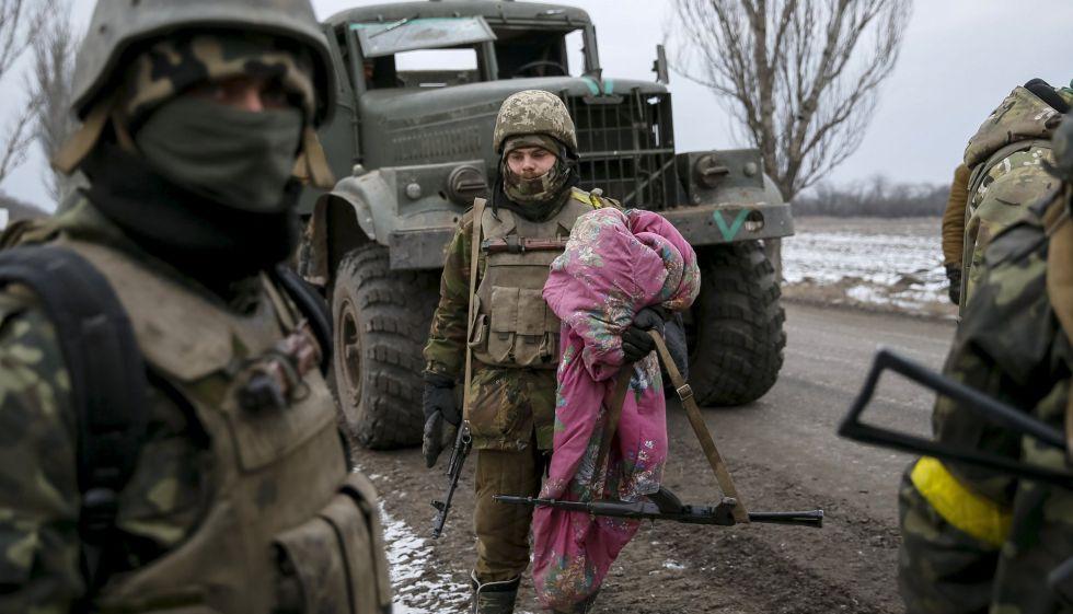 Unos soldados ucranios en el este del país.