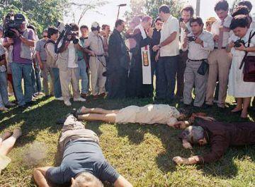 Los cuerpos de los asesinados en la masacre, en 1989