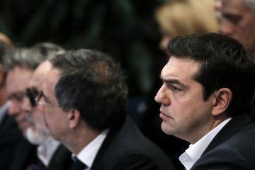 Alexis Tsipras, el 1 de febrero en una reunión del Banco de Grecia.