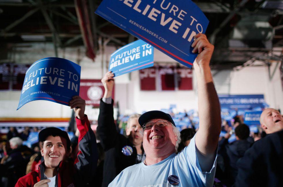 Seguidores de Sanders en New Hampshire.